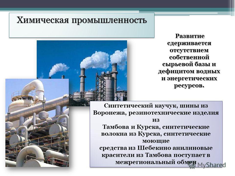 Химическая промышленность Развитие сдерживается отсутствием собственной сырьевой базы и дефицитом водных и энергетических ресурсов. Синтетический каучук, шины из Воронежа, резинотехнические изделия из Тамбова и Курска, синтетические волокна из Курска