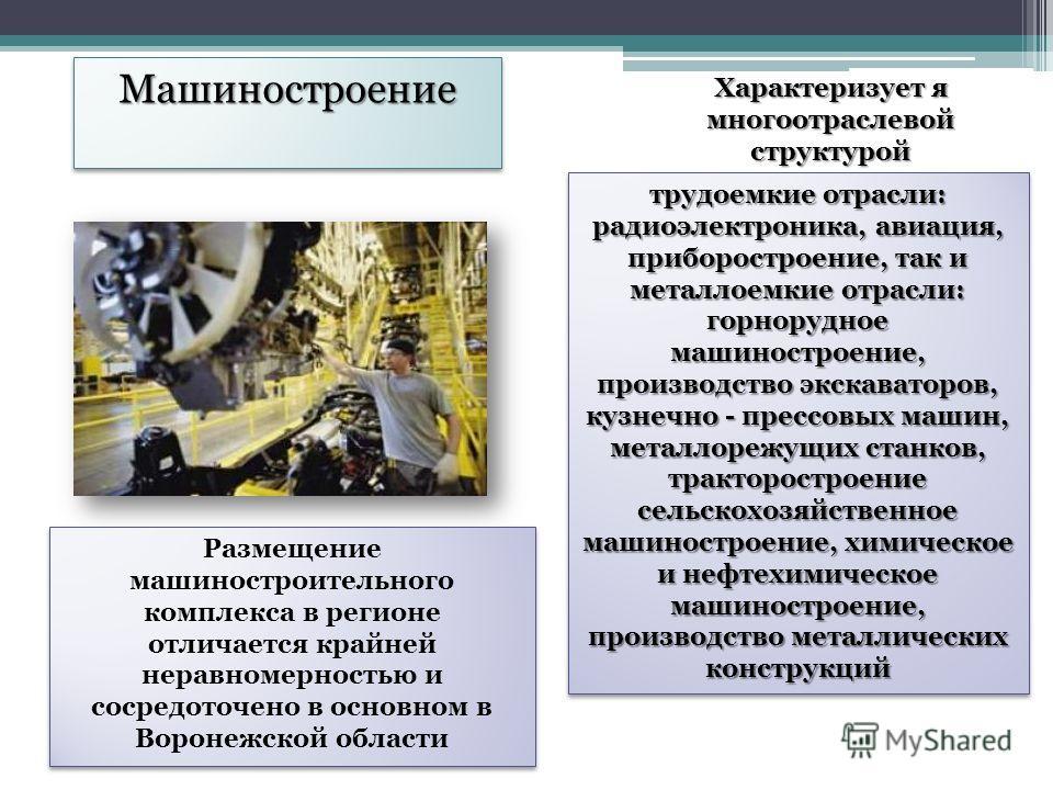 МашиностроениеМашиностроение Характеризует я многоотраслевой структурой трудоемкие отрасли: радиоэлектроника, авиация, приборостроение, так и металлоемкие отрасли: горнорудное машиностроение, производство экскаваторов, кузнечно - прессовых машин, мет