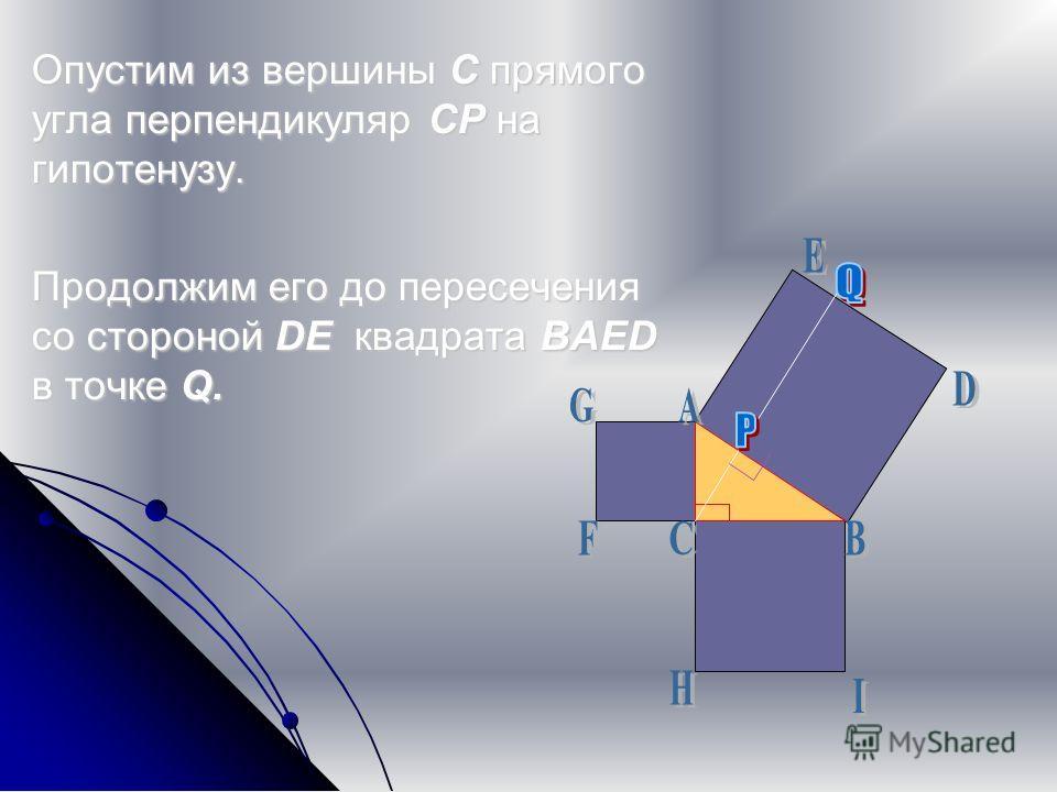 Опустим из вершины С прямого угла перпендикуляр CP на гипотенузу. Продолжим его до пересечения со стороной DE квадрата BAED в точке Q.