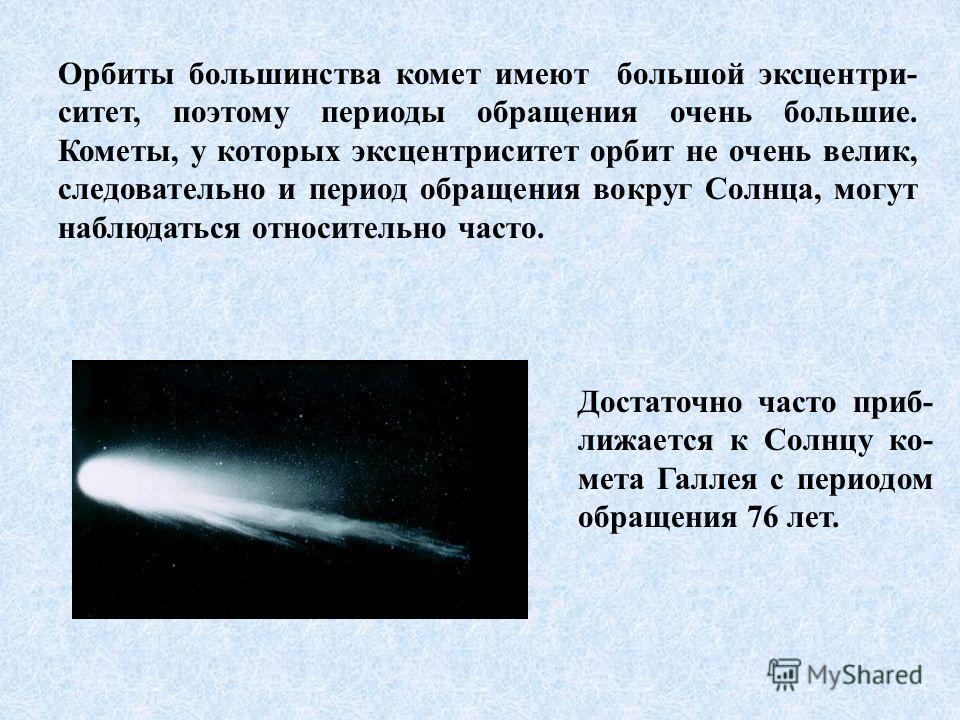Орбиты большинства комет имеют большой эксцентри- ситет, поэтому периоды обращения очень большие. Кометы, у которых эксцентриситет орбит не очень велик, следовательно и период обращения вокруг Солнца, могут наблюдаться относительно часто. Достаточно