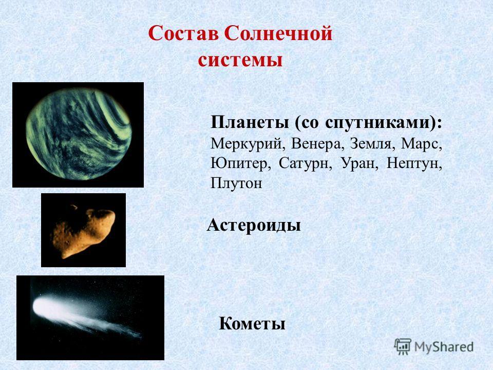 Состав Солнечной системы Планеты (со спутниками): Меркурий, Венера, Земля, Марс, Юпитер, Сатурн, Уран, Нептун, Плутон Астероиды Кометы
