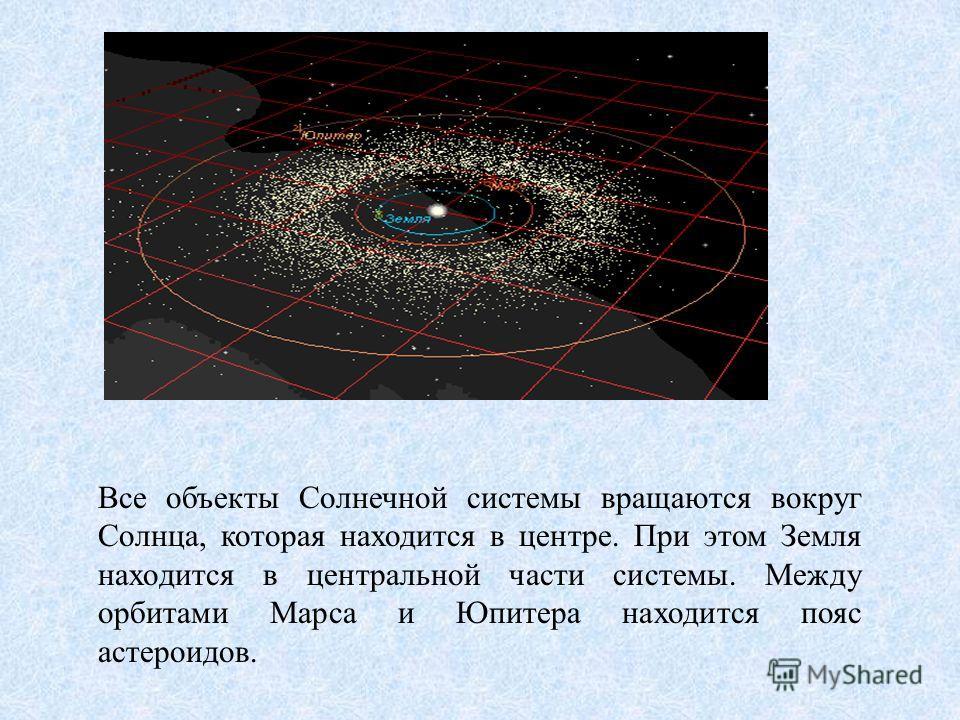 Все объекты Солнечной системы вращаются вокруг Солнца, которая находится в центре. При этом Земля находится в центральной части системы. Между орбитами Марса и Юпитера находится пояс астероидов.