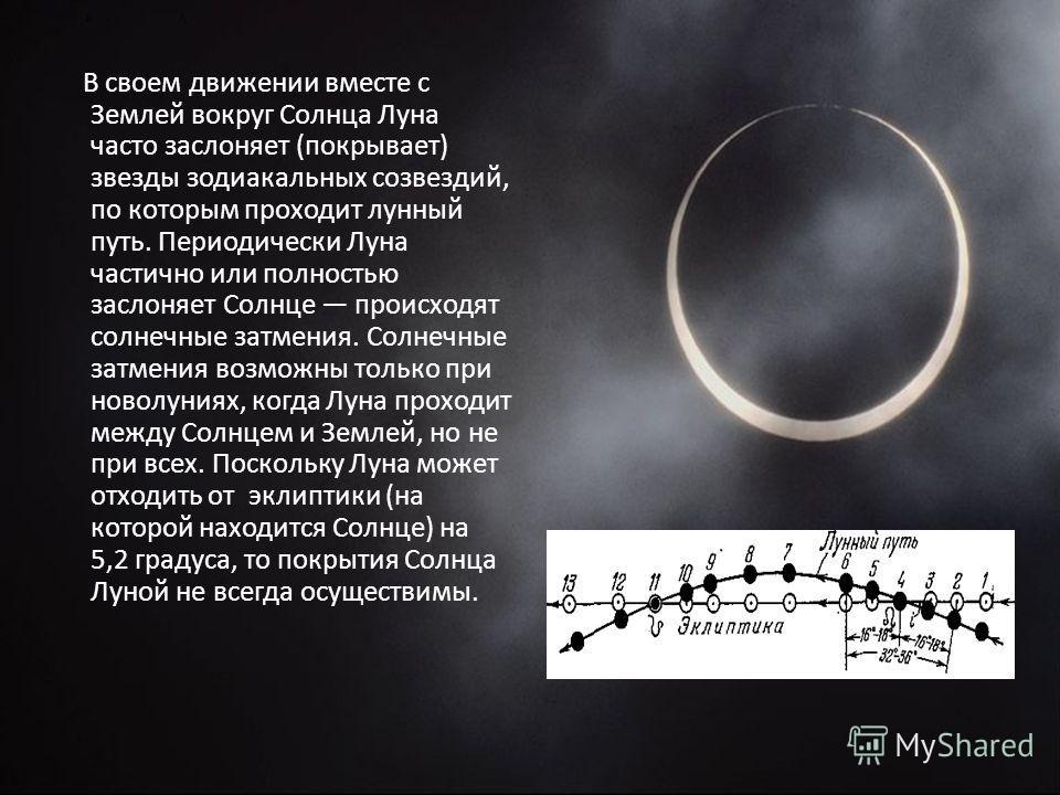В своем движении вместе с Землей вокруг Солнца Луна часто заслоняет (покрывает) звезды зодиакальных созвездий, по которым проходит лунный путь. Периодически Луна частично или полностью заслоняет Солнце происходят солнечные затмения. Солнечные затмени
