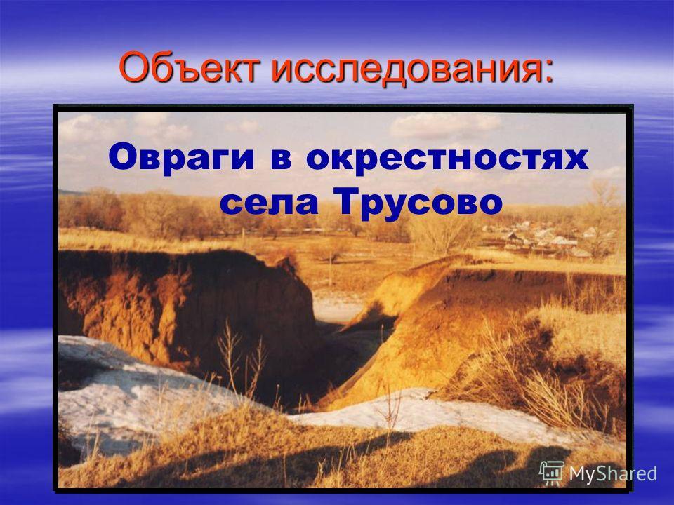 Объект исследования: Овраги в окрестностях села Трусово