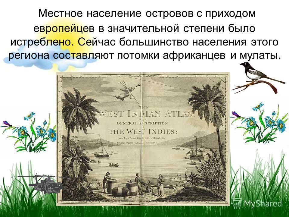 Местное население островов с приходом европейцев в значительной степени было истреблено. Сейчас большинство населения этого региона составляют потомки африканцев и мулаты.