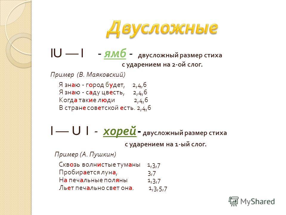 lU l - ямб - двусложный размер стиха ямб с ударением на 2- ой слог. Пример ( В. Маяковский ) Я знаю - город будет, 2,4,6 Я знаю - саду цвесть, 2,4,6 Когда такие люди 2,4,6 В стране советской есть. 2,4,6 l U l - хорей - двусложный размер стиха с ударе