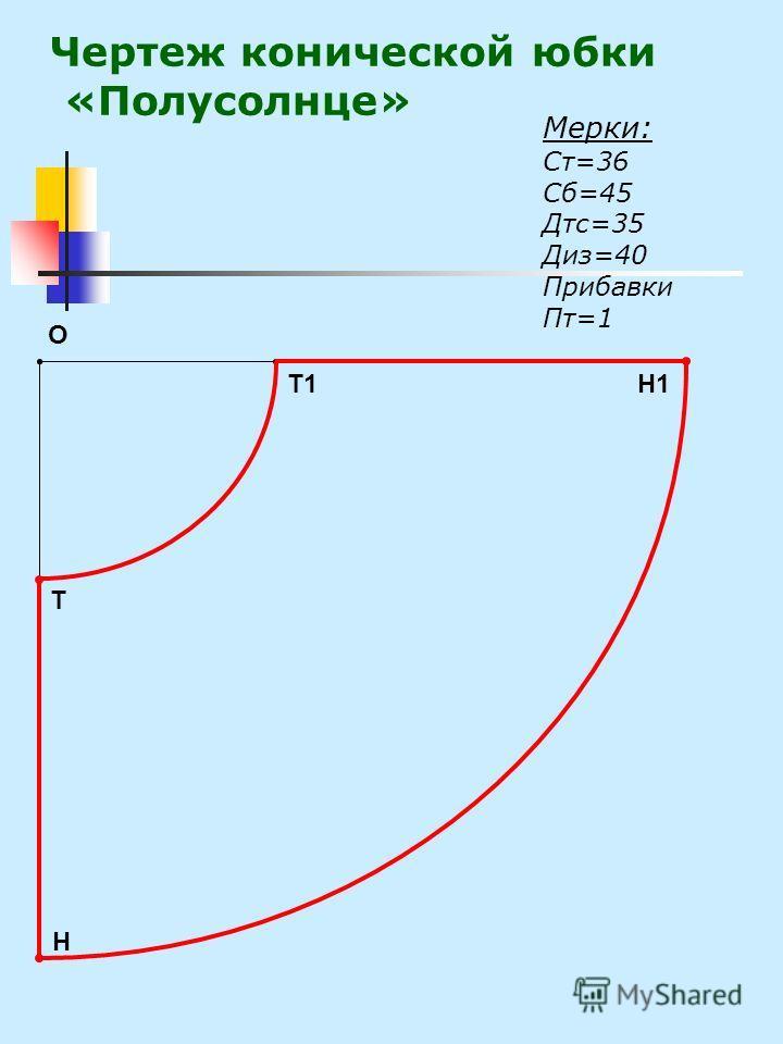 Чертеж конической юбки «Полусолнце» Мерки: Ст=36 Сб=45 Дтс=35 Диз=40 Прибавки Пт=1 О Т Н Т1Н1