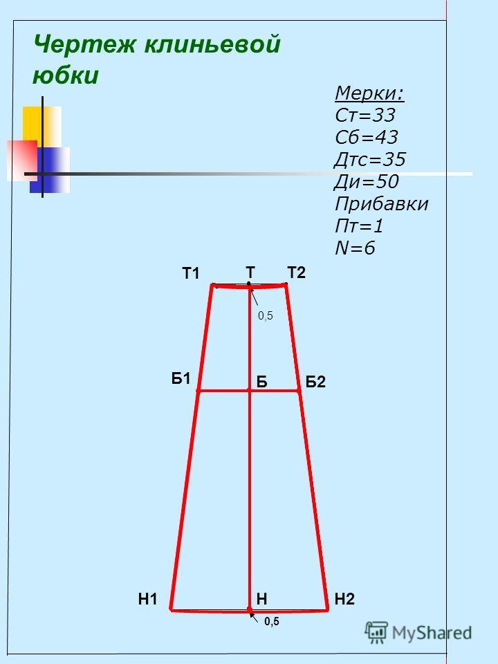 Чертеж клиньевой юбки Мерки: Ст=33 Сб=43 Дтс=35 Ди=50 Прибавки Пт=1 N=6 Т Б НН2Н1 Б2 Б1 Т2 Т1 0,5