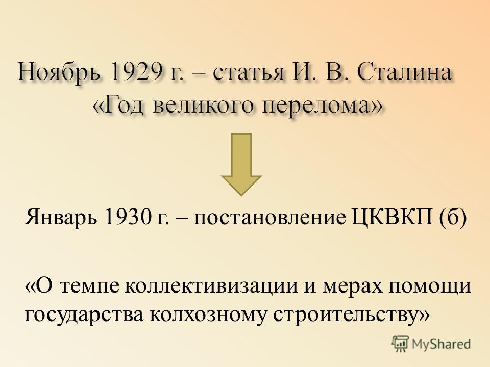 Январь 1930 г. – постановление ЦКВКП ( б ) « О темпе коллективизации и мерах помощи государства колхозному строительству »