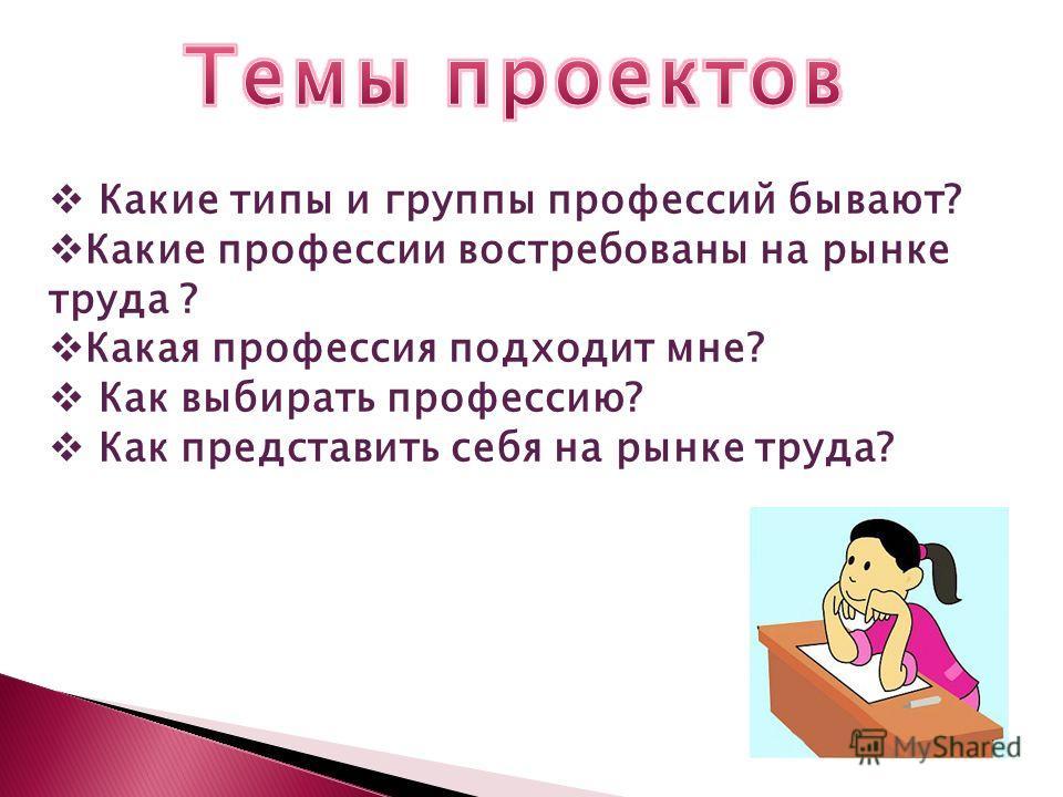 Какие типы и группы профессий бывают? Какие профессии востребованы на рынке труда ? Какая профессия подходит мне? Как выбирать профессию? Как представить себя на рынке труда?