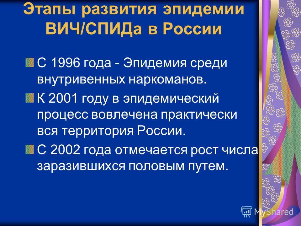 Этапы развития эпидемии ВИЧ/СПИДа в России С 1996 года - Эпидемия среди внутривенных наркоманов. К 2001 году в эпидемический процесс вовлечена практически вся территория России. С 2002 года отмечается рост числа заразившихся половым путем.