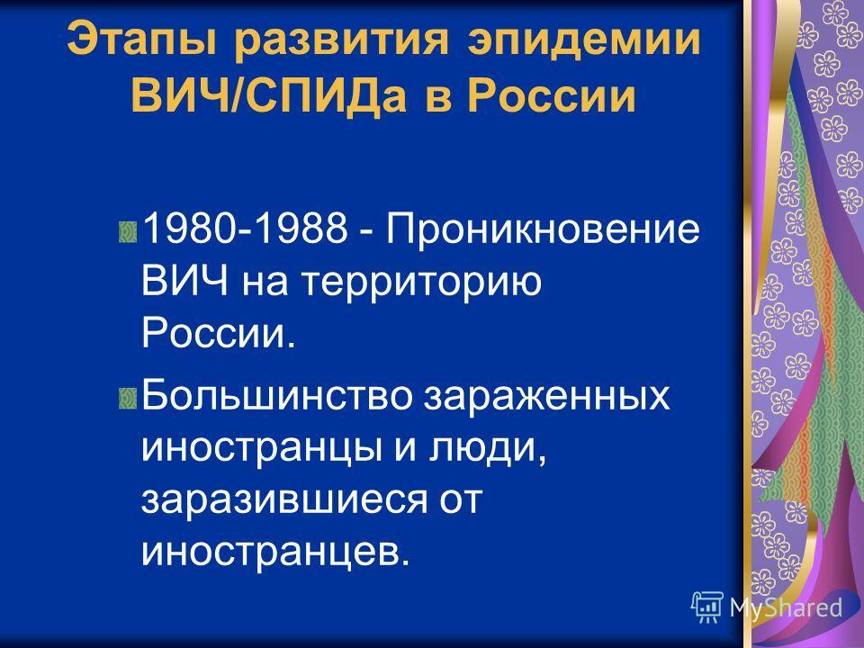 Этапы развития эпидемии ВИЧ/СПИДа в России 1980-1988 - Проникновение ВИЧ на территорию России. Большинство зараженных иностранцы и люди, заразившиеся от иностранцев.