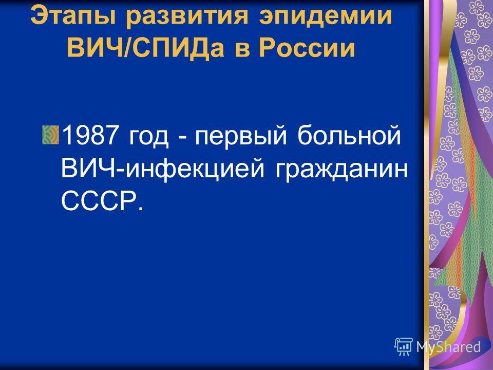 Этапы развития эпидемии ВИЧ/СПИДа в России 1987 год - первый больной ВИЧ-инфекцией гражданин СССР.