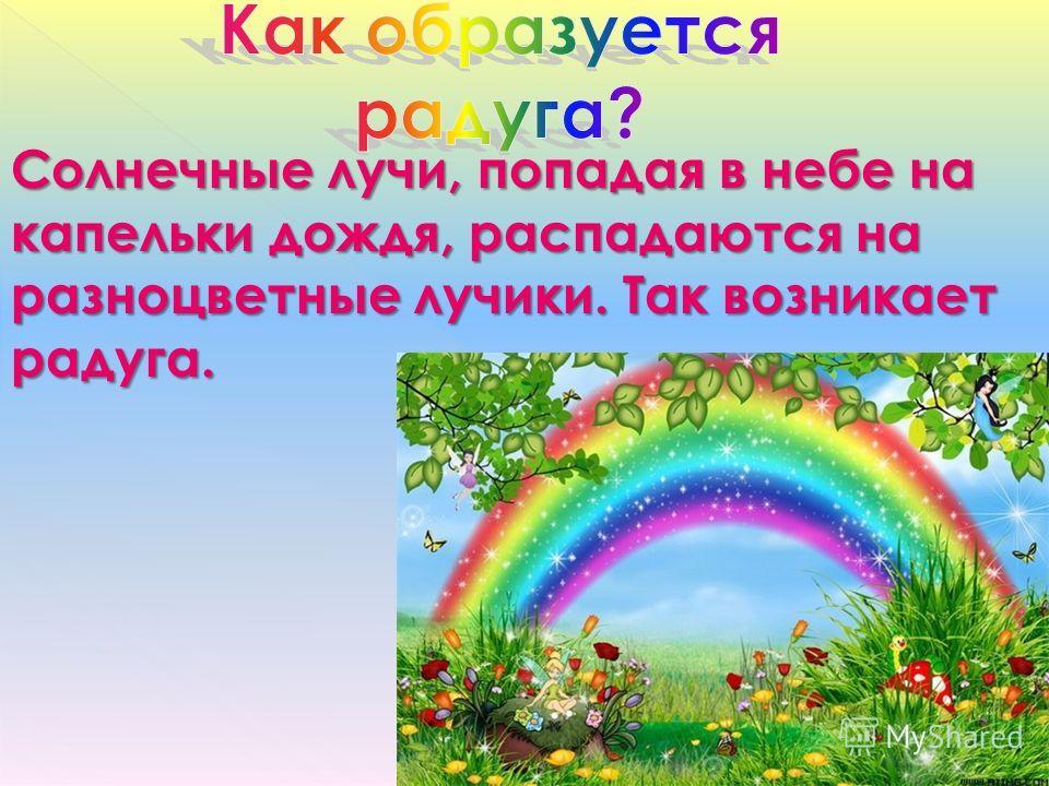 Солнечные лучи, попадая в небе на капельки дождя, распадаются на разноцветные лучики. Так возникает радуга.
