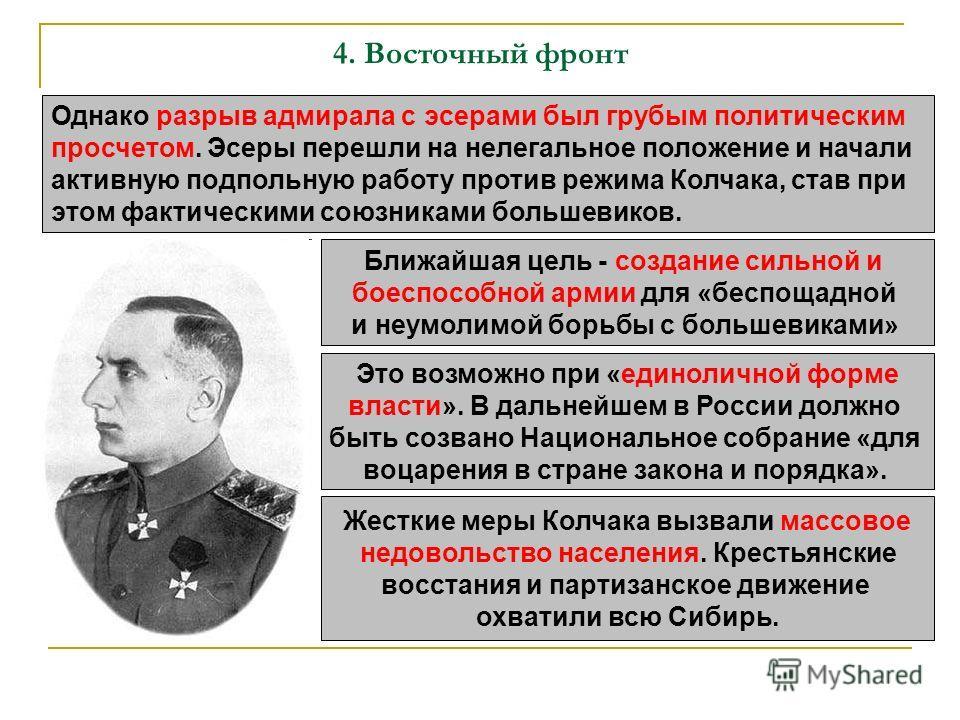 4. Восточный фронт Однако разрыв адмирала с эсерами был грубым политическим просчетом. Эсеры перешли на нелегальное положение и начали активную подпольную работу против режима Колчака, став при этом фактическими союзниками большевиков. Ближайшая цель