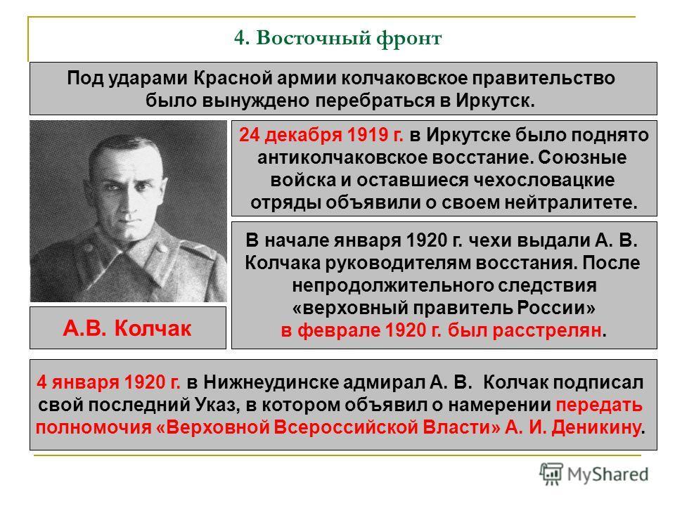4. Восточный фронт Под ударами Красной армии колчаковское правительство было вынуждено перебраться в Иркутск. 24 декабря 1919 г. в Иркутске было поднято антиколчаковское восстание. Союзные войска и оставшиеся чехословацкие отряды объявили о своем ней