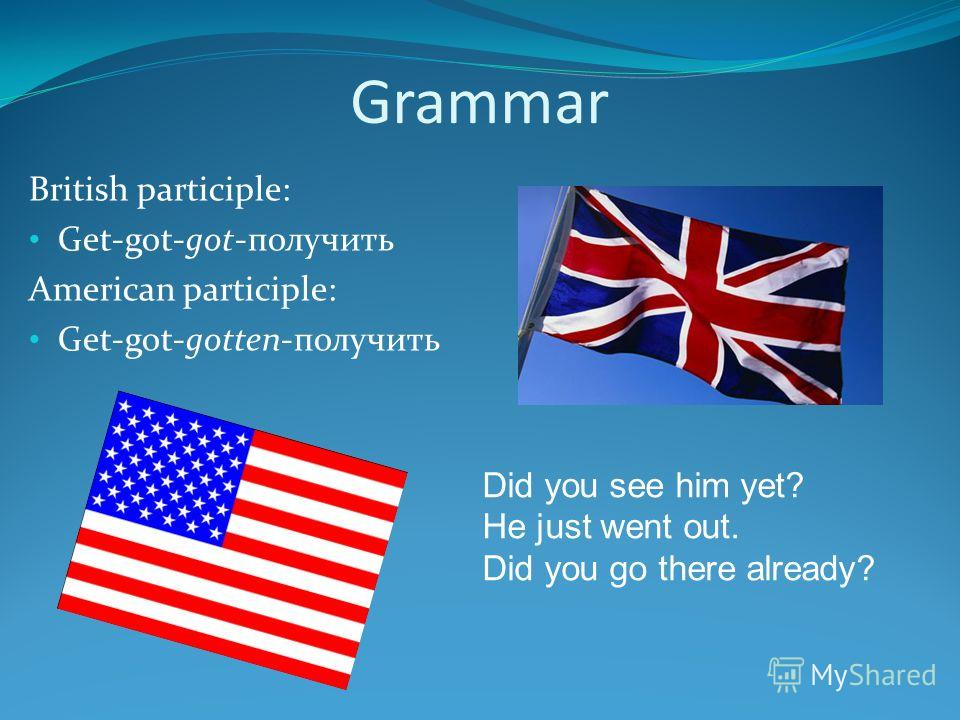 Grammar British participle: Get-got-got-получить American participle: Get-got-gotten-получить Did you see him yet? He just went out. Did you go there already?