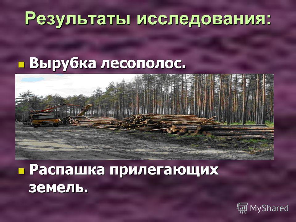 Результаты исследования: Результаты исследования: Вырубка лесополос. Вырубка лесополос. Распашка прилегающих земель. Распашка прилегающих земель.