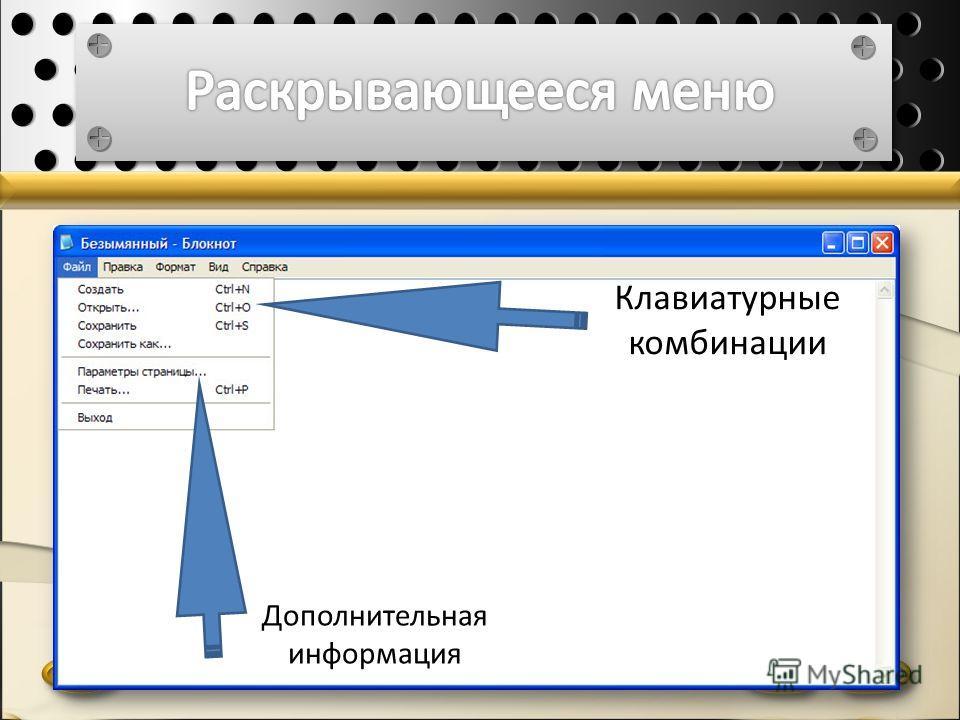 Клавиатурные комбинации Дополнительная информация