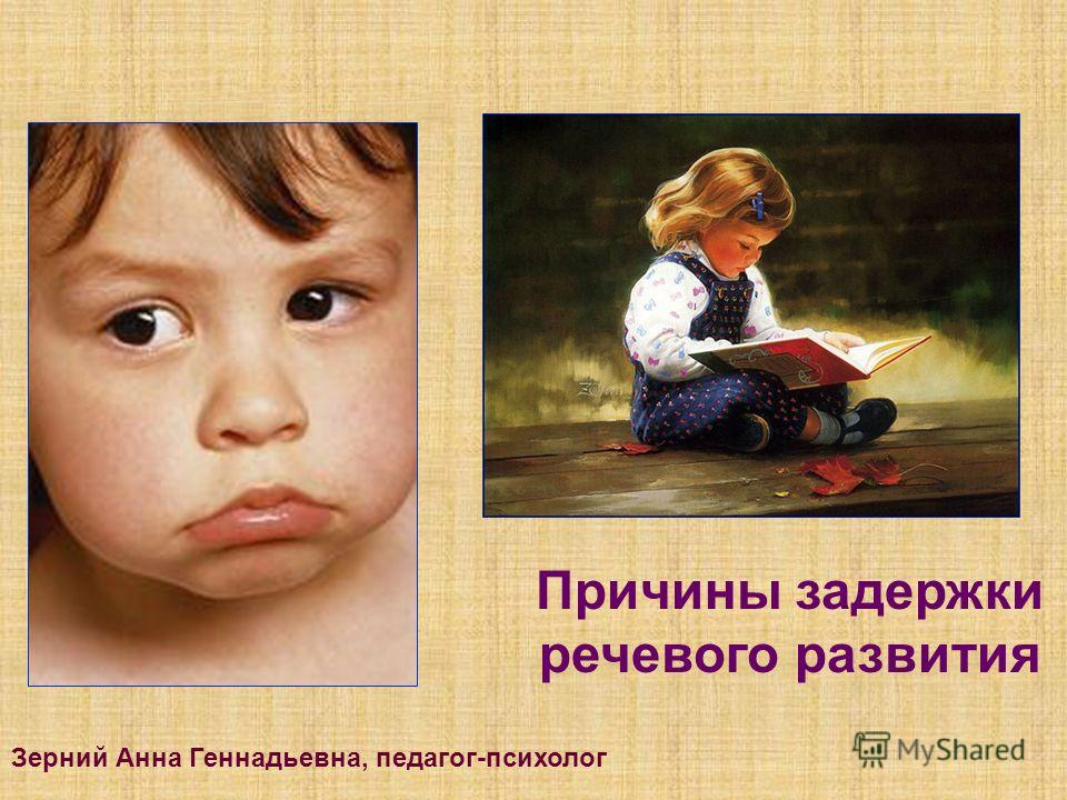 Причины задержки речевого развития Зерний Анна Геннадьевна, педагог-психолог
