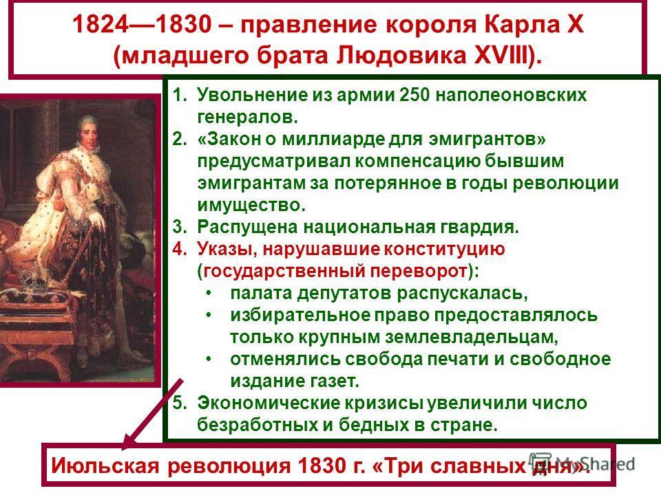 18241830 – правление короля Карла X (младшего брата Людовика XVIII). 1.Увольнение из армии 250 наполеоновских генералов. 2.«Закон о миллиарде для эмигрантов» предусматривал компенсацию бывшим эмигрантам за потерянное в годы революции имущество. 3.Рас