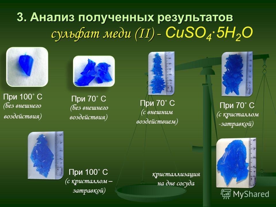 3. Анализ полученных результатов сульфат меди (II) - 3. Анализ полученных результатов сульфат меди (II) - CuSO 4 5Н 2 О При 100˚ С (без внешнего воздействия) При 70˚ С (без внешнего воздействия) При 70˚ С (с внешним воздействием) При 70˚ С (с кристал
