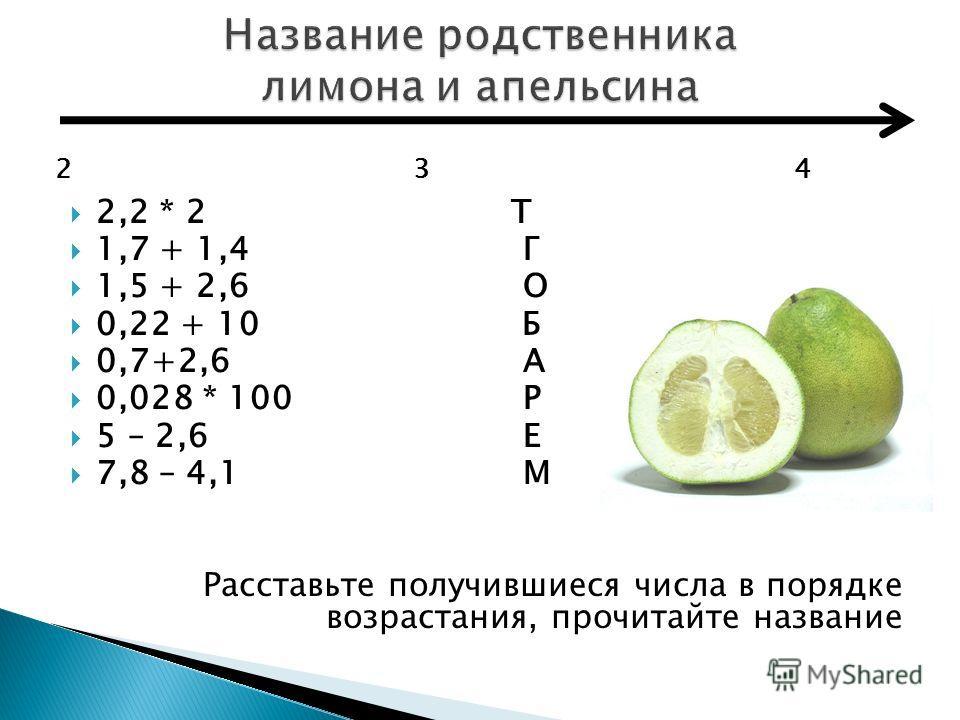 2,2 * 2 Т 1,7 + 1,4 Г 1,5 + 2,6 О 0,22 + 10 Б 0,7+2,6 А 0,028 * 100 Р 5 – 2,6 Е 7,8 – 4,1 М Расставьте получившиеся числа в порядке возрастания, прочитайте название 2 3 4