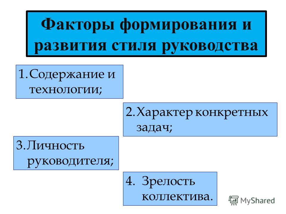 Факторы формирования и развития стиля руководства 1.Содержание и технологии; 2.Характер конкретных задач; 3.Личность руководителя; 4.Зрелость коллектива.