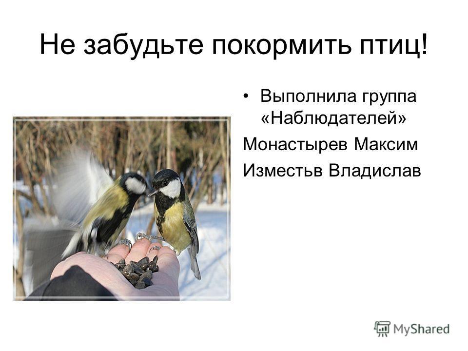 Не забудьте покормить птиц! Выполнила группа «Наблюдателей» Монастырев Максим Изместьв Владислав