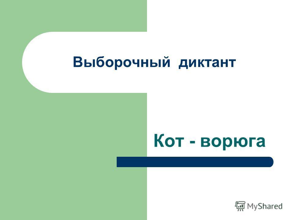 Выборочный диктант Кот - ворюга
