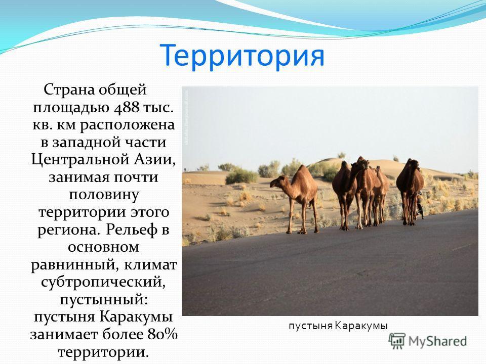Территория Страна общей площадью 488 тыс. кв. км расположена в западной части Центральной Азии, занимая почти половину территории этого региона. Рельеф в основном равнинный, климат субтропический, пустынный: пустыня Каракумы занимает более 80% террит