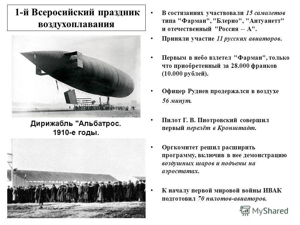 1-й Всеросийский праздник воздухоплавания В состязаниях участвовали 15 самолетов типа