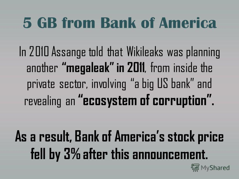 5 GB from Bank of America In 2010 Assange told that Wikileaks was planning another megaleak in 2011, from inside the private sector, involving a big US bank and revealing an ecosystem of corruption. As a result, Bank of Americas stock price fell by 3