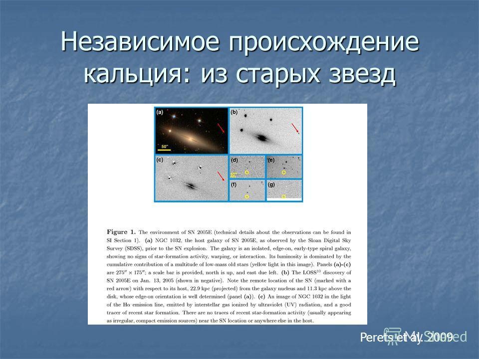 Независимое происхождение кальция: из старых звезд Perets et al. 2009