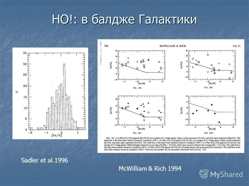 НO!: в балдже Галактики Sadler et al.1996 McWilliam & Rich 1994