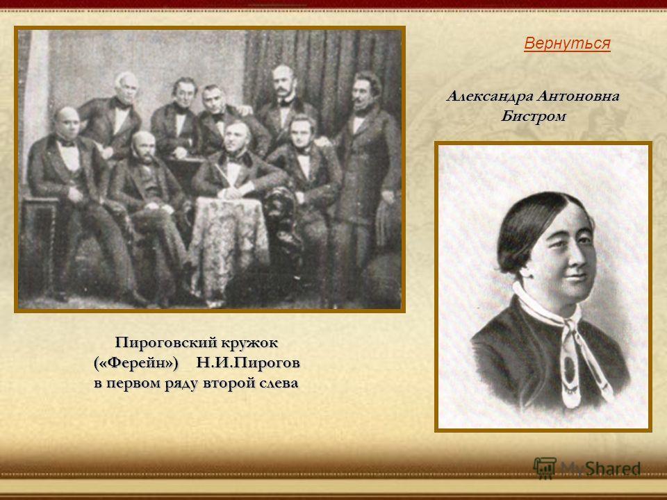 Пироговский кружок («Ферейн») Н.И.Пирогов в первом ряду второй слева Вернуться Александра Антоновна Бистром
