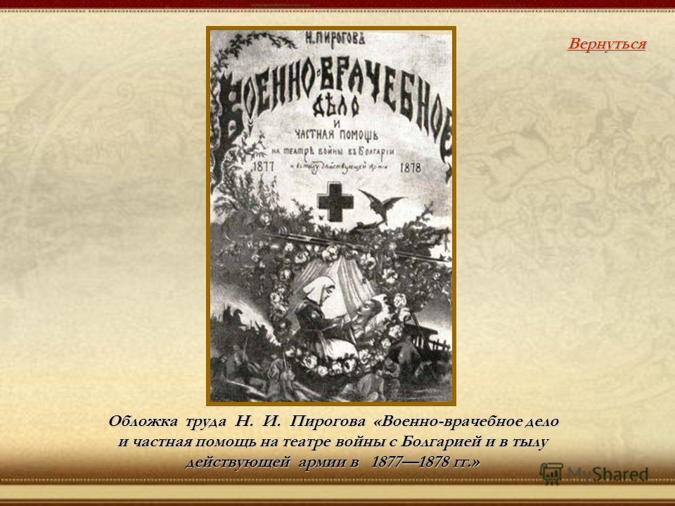 Обложка труда Н. И. Пирогова «Военно-врачебное дело и частная помощь на театре войны с Болгарией и в тылу действующей армии в 18771878 гг.» Вернуться