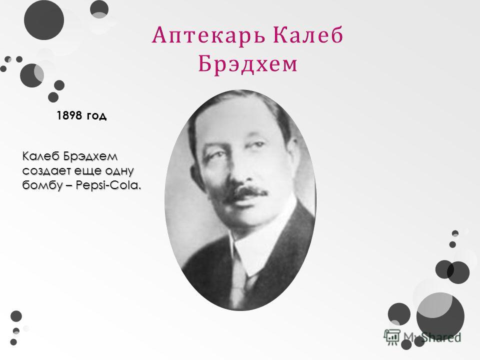 Калеб Брэдхем создает еще одну бомбу – Pepsi-Cola. 1898 год