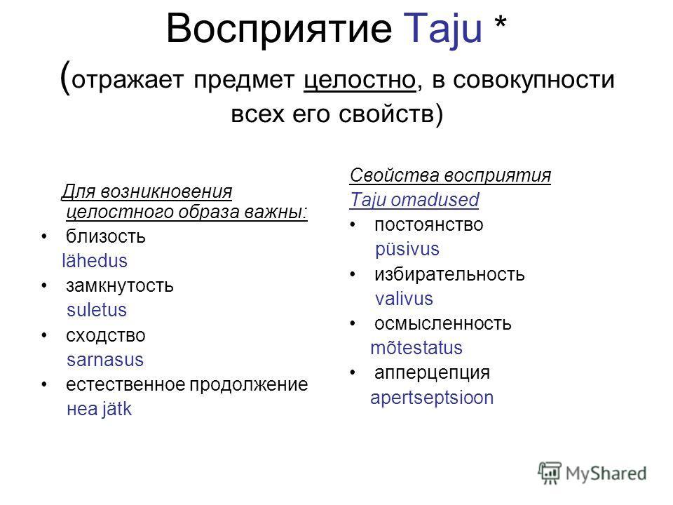 Восприятие Taju * ( отражает предмет целостно, в совокупности всех его свойств) Для возникновения целостного образа важны: близость lähedus замкнутость suletus сходство sarnasus естественное продолжение нea jätk Свойства восприятия Taju omadused пост