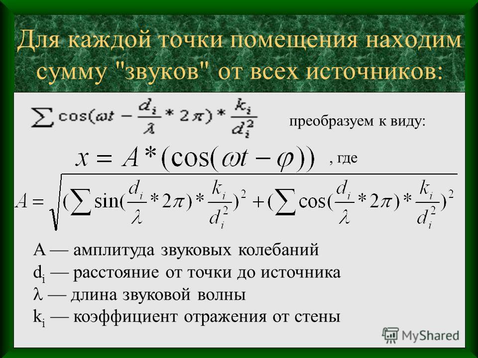 Для каждой точки помещения находим сумму звуков от всех источников: A амплитуда звуковых колебаний d i расстояние от точки до источника длина звуковой волны k i коэффициент отражения от стены преобразуем к виду:, где