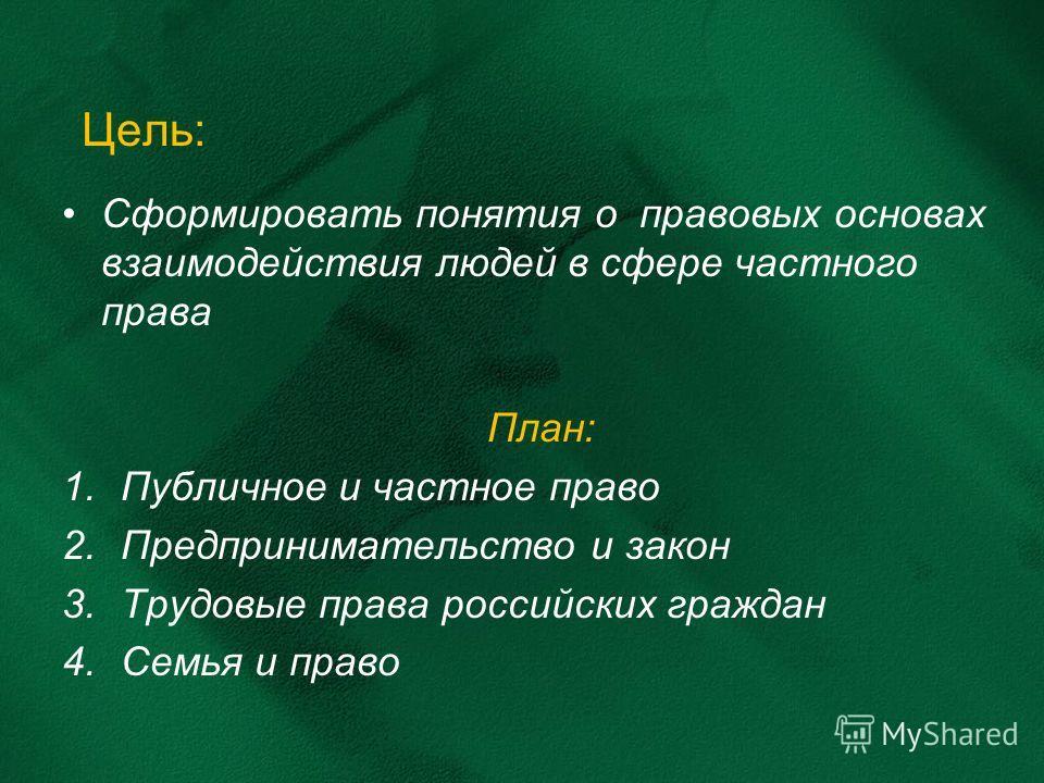 Цель: Сформировать понятия о правовых основах взаимодействия людей в сфере частного права План: 1.Публичное и частное право 2.Предпринимательство и закон 3.Трудовые права российских граждан 4.Семья и право