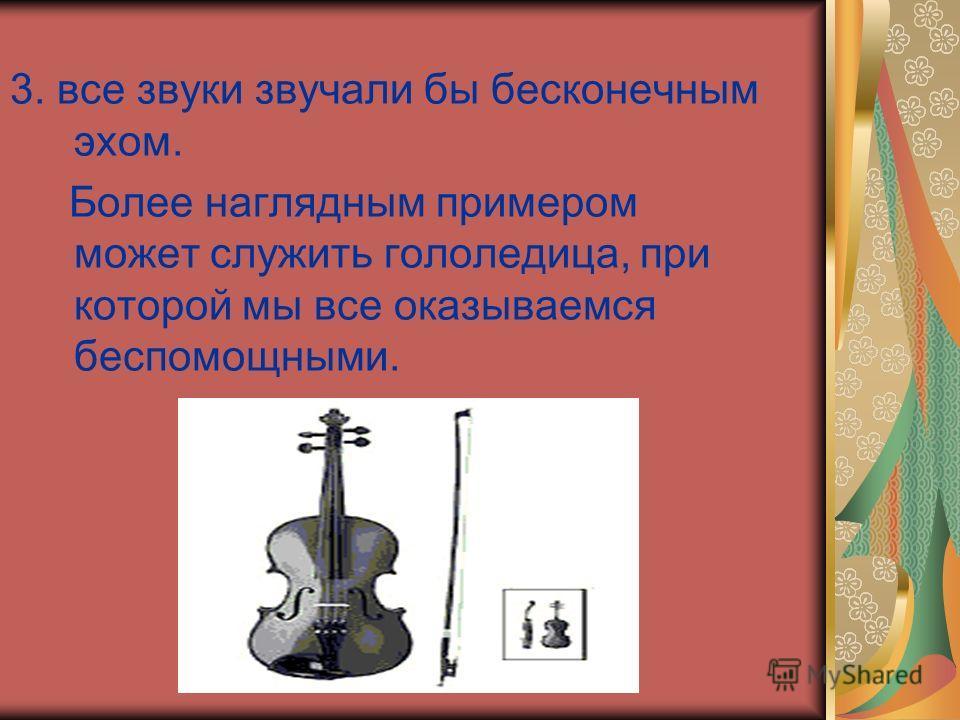 3. все звуки звучали бы бесконечным эхом. Более наглядным примером может служить гололедица, при которой мы все оказываемся беспомощными.