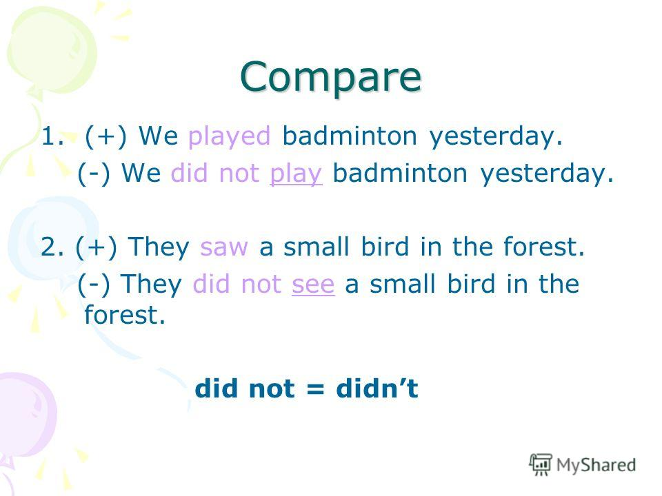 Compare 1.(+) We played badminton yesterday. (-) We did not play badminton yesterday. 2. (+) They saw a small bird in the forest. (-) They did not see a small bird in the forest. did not = didnt