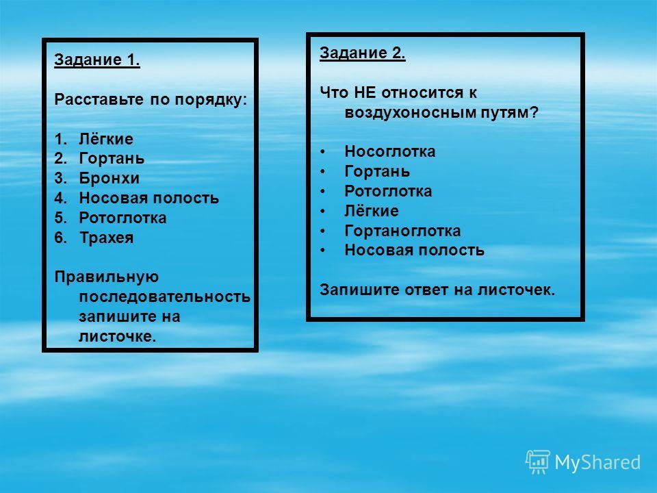 Задание 1. Расставьте по порядку: 1.Лёгкие 2.Гортань 3.Бронхи 4.Носовая полость 5.Ротоглотка 6.Трахея Правильную последовательность запишите на листочке. Задание 2. Что НЕ относится к воздухоносным путям? Носоглотка Гортань Ротоглотка Лёгкие Гортаног