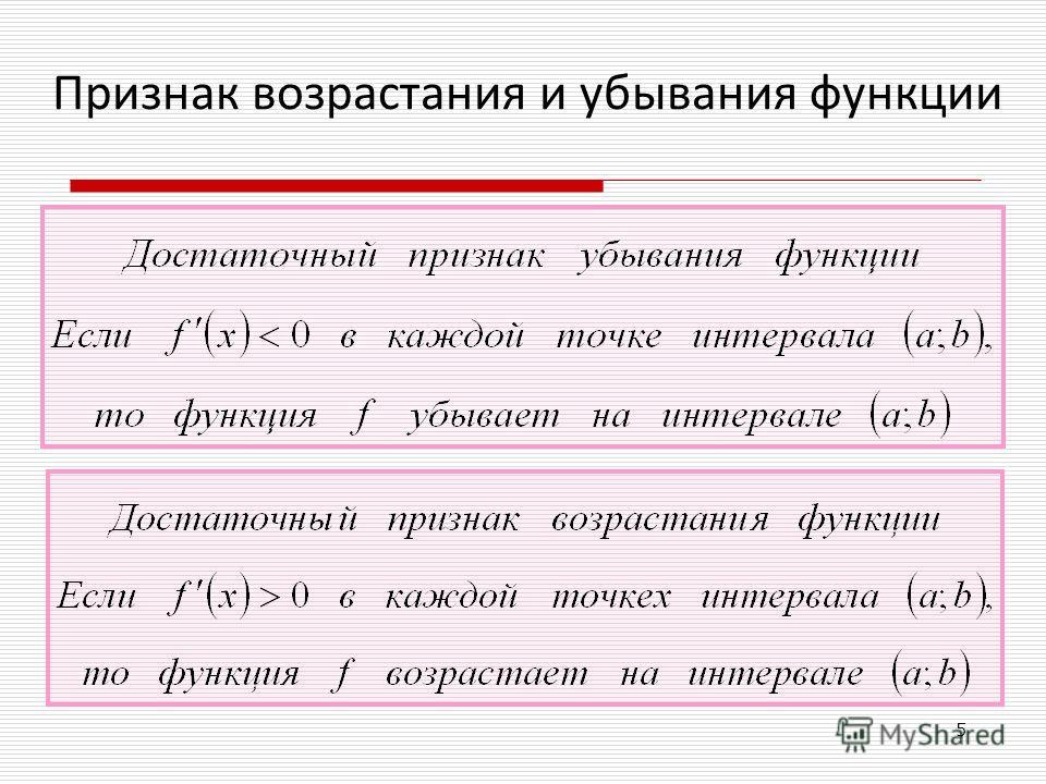 Признак возрастания и убывания функции = 5