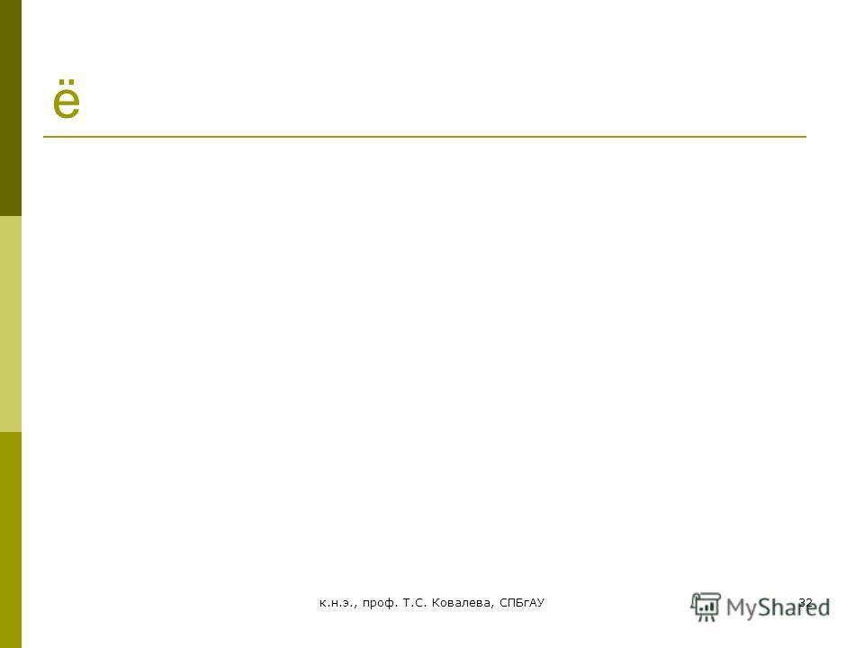 к.н.э., проф. Т.С. Ковалева, СПБгАУ32 ё 5. Специфика спроса на сельскохозяйственную продукцию и предложения сельскохозяйственной продукции