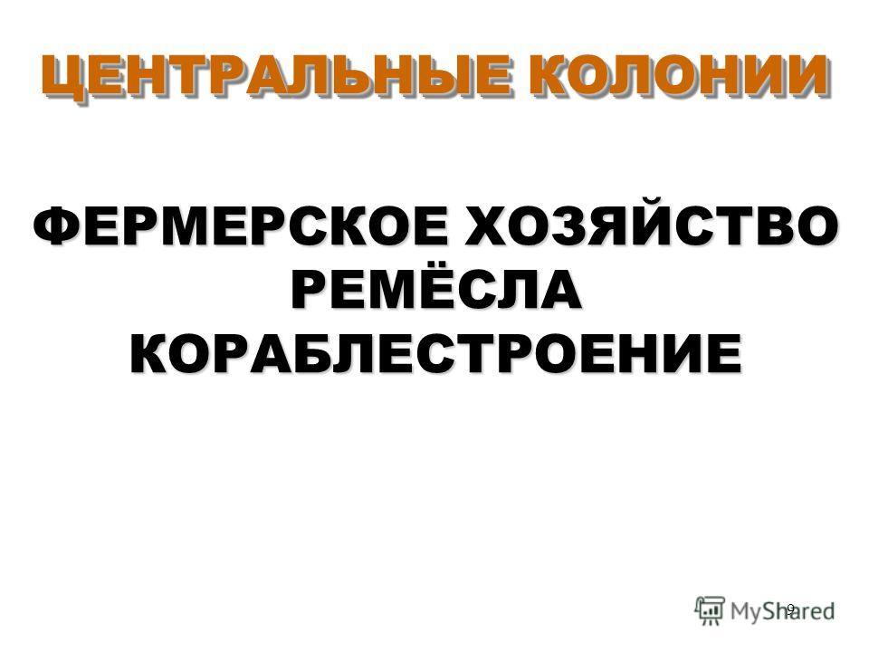 9 ЦЕНТРАЛЬНЫЕ КОЛОНИИ ЦЕНТРАЛЬНЫЕ КОЛОНИИ ФЕРМЕРСКОЕ ХОЗЯЙСТВО РЕМЁСЛА КОРАБЛЕСТРОЕНИЕ