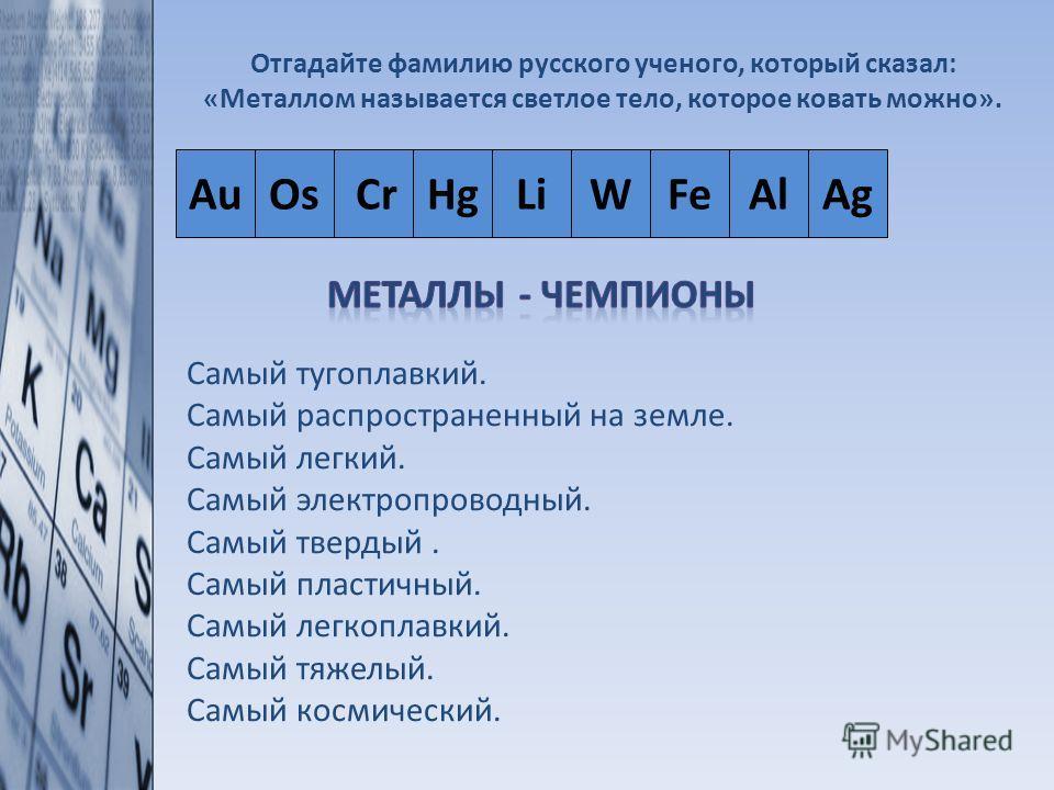 Отгадайте фамилию русского ученого, который сказал: «Металлом называется светлое тело, которое ковать можно». 1.Самый тугоплавкий. 2.Самый распространенный на земле. 3.Самый легкий. 4.Самый электропроводный. 5.Самый твердый. 6.Самый пластичный. 7.Сам