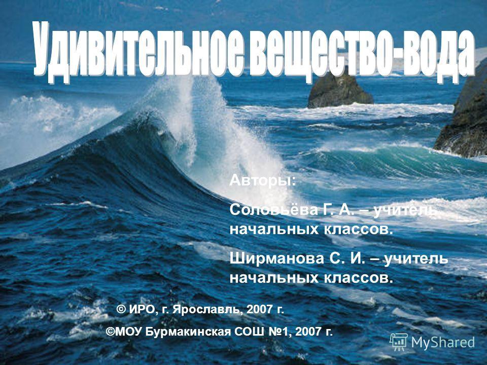 Авторы: Соловьёва Г. А. – учитель начальных классов. Ширманова С. И. – учитель начальных классов. © ИРО, г. Ярославль, 2007 г. ©МОУ Бурмакинская СОШ 1, 2007 г.