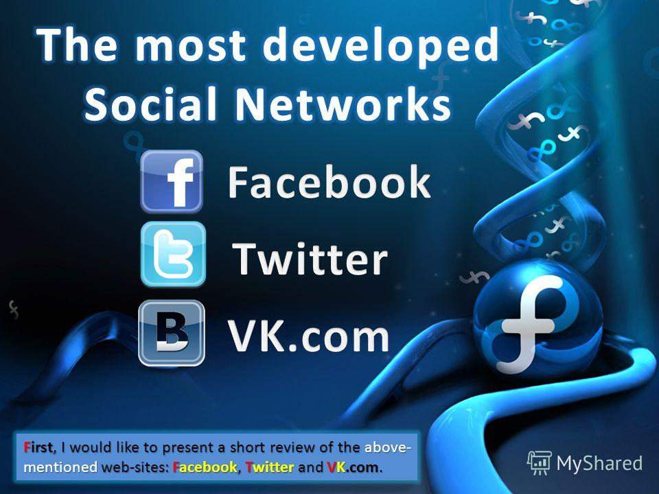 First, I would like to present a short review of the above- mentioned web-sites: Facebook, Twitter and VK.com.